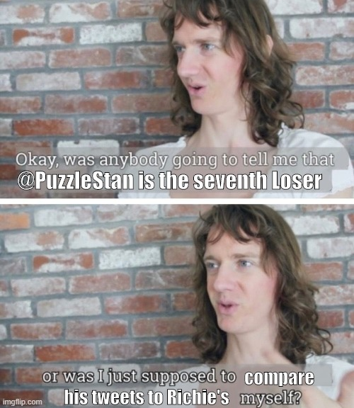 "A meme. The basic format is two images of Chris Fleming standing in front of a brick wall. The first has the caption ""Okay, was anyone going to tell me that @PuzzleStan is the seventh Loser"" and the second has the caption ""or was I just supposed to compare his tweets to Richie's myself?"""