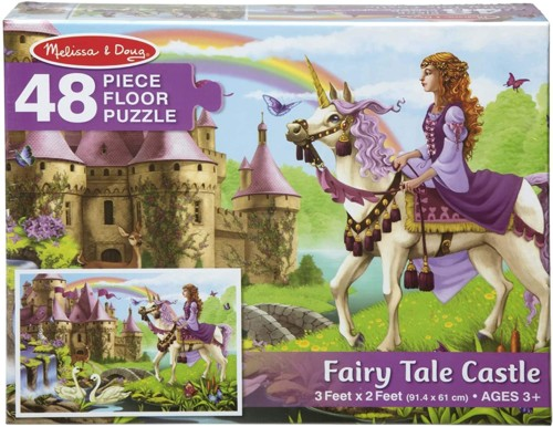 The box of a 48 piece floor puzzle titled Fairy Tale Castle. It's for ages 3 and up. A princess is riding a unicorn. There's a castle in the background and a rainbow and butterflies in the sky.